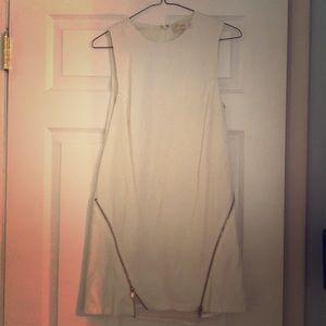 White vintage new wave mini zipper dress XS